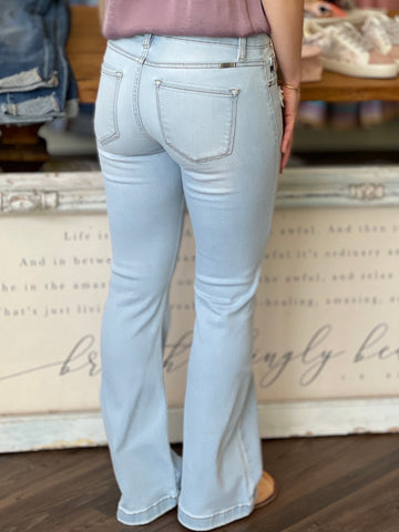 Petite Mid Rise Flare Jeans - Light Wash