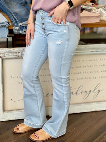 Petite Mid Rise Flare Jeans - Light Wash five pocket design mid rise fit four button fly KC8632L-PE-1