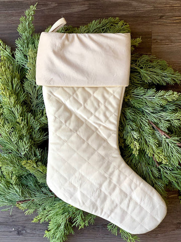 Quilted Stocking Cream Christmas Stocking Mantel Decor