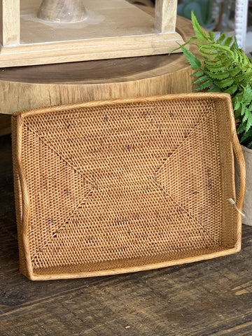 Rattan Serving Tray Rectangular Handles