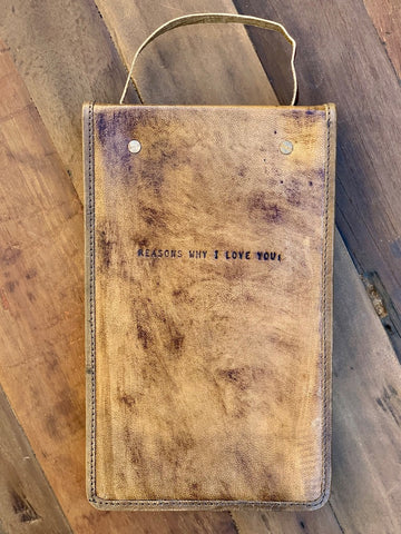 Reasons Why I Love You Journal Unruled Vintage Distressed Leather Journal Handmade Paper Hanging Journal