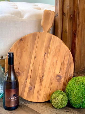 Reclaimed Wood Round Footed Serving Board 15-inch