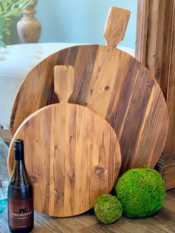 Reclaimed Wood Round Footed Serving Board 22-inch Oversized