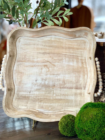 Scalloped Beaded Tray Square 18 inch 2 inch deep home decor mango wood white wash distressed