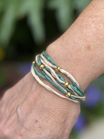 Sea Breeze Bracelet Ocean Colors Turquoise Teal Cream Rope Bracelet Gold Beads