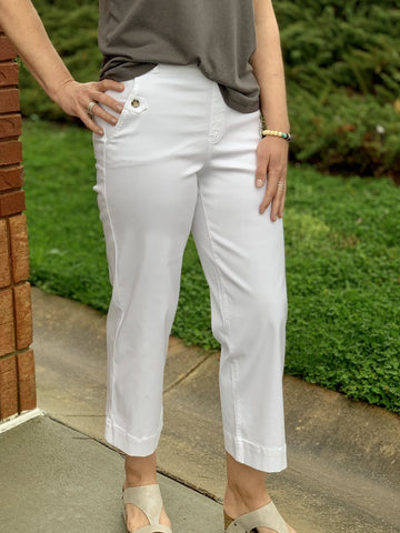 Spanx Stretch Twill Cropped Wide Leg White Pants