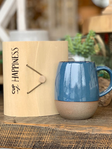Stoneware Mug with a Meaning Wood Box Cup Of Gratitude Cup of Happiness Cup of Love Cup of Friendship