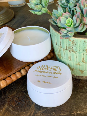 The Bachelor Travel Tin Candle White 7 oz