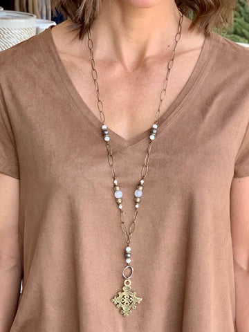 Touchstone Necklace Truth Light Cross Long Necklace Statement Necklace