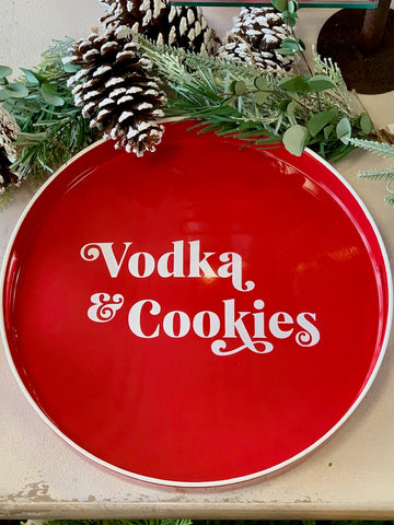 Vodka and Cookies Tray Holiday Christmas Decor