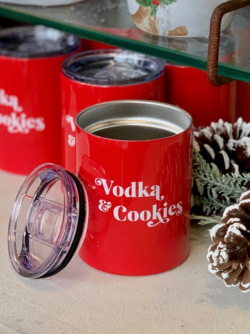 Vodka and Cookies Tumbler Red Thermal 12 ounce Cup Wine Cocktail Cup Red Christmas Holiday