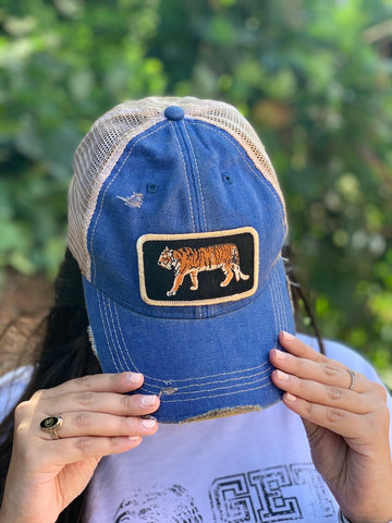 Walk This Way Tiger Hat - Wide Patch Trucker Hat Adjustable