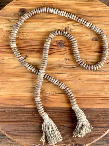 Wood Bead Garland with Tassel Brown Mango Distressed