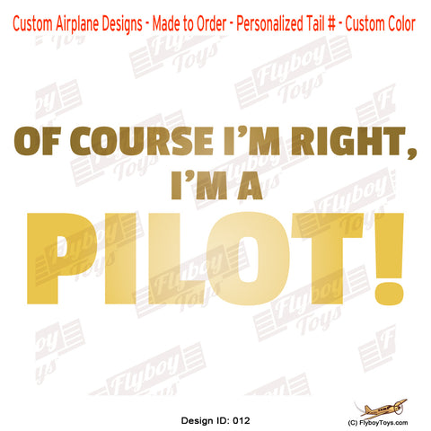 Of Course I'm Right Airplane Aviation Design
