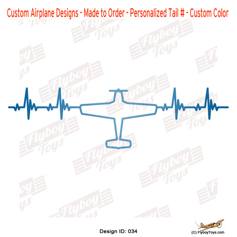 Heartbeat Plane Top View Rotated Airplane Aviation Design