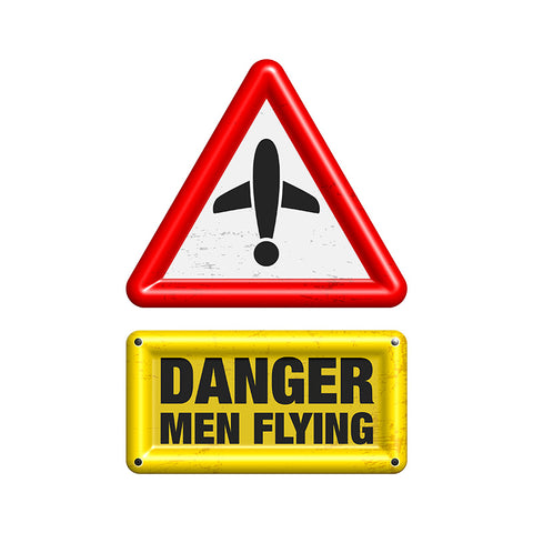 Danger Men Flying Airplane Aviation Design
