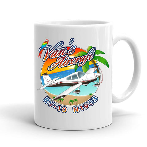 Beach Van's Aircraft RV-10 Airplane Ceramic Mug - Personalized with your N#