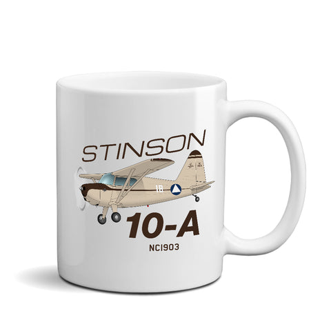 Stinson 10-A (Cream/Brown) Airplane Ceramic Mug - Personalized w/ N#