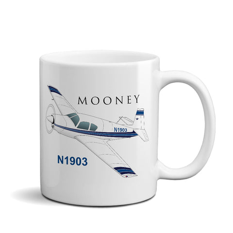 Mooney M20 / M20C (Blue/Black) Airplane Ceramic Mug - Personalized w/ N#