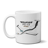 Pilatus PC-12 NG (Silver/Black) Airplane Ceramic Mug - Personalized w/ N#