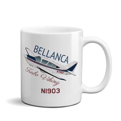 Bellanca Turbo Viking (Red/Blue) Airplane Ceramic Mug - Personalized w/ N#