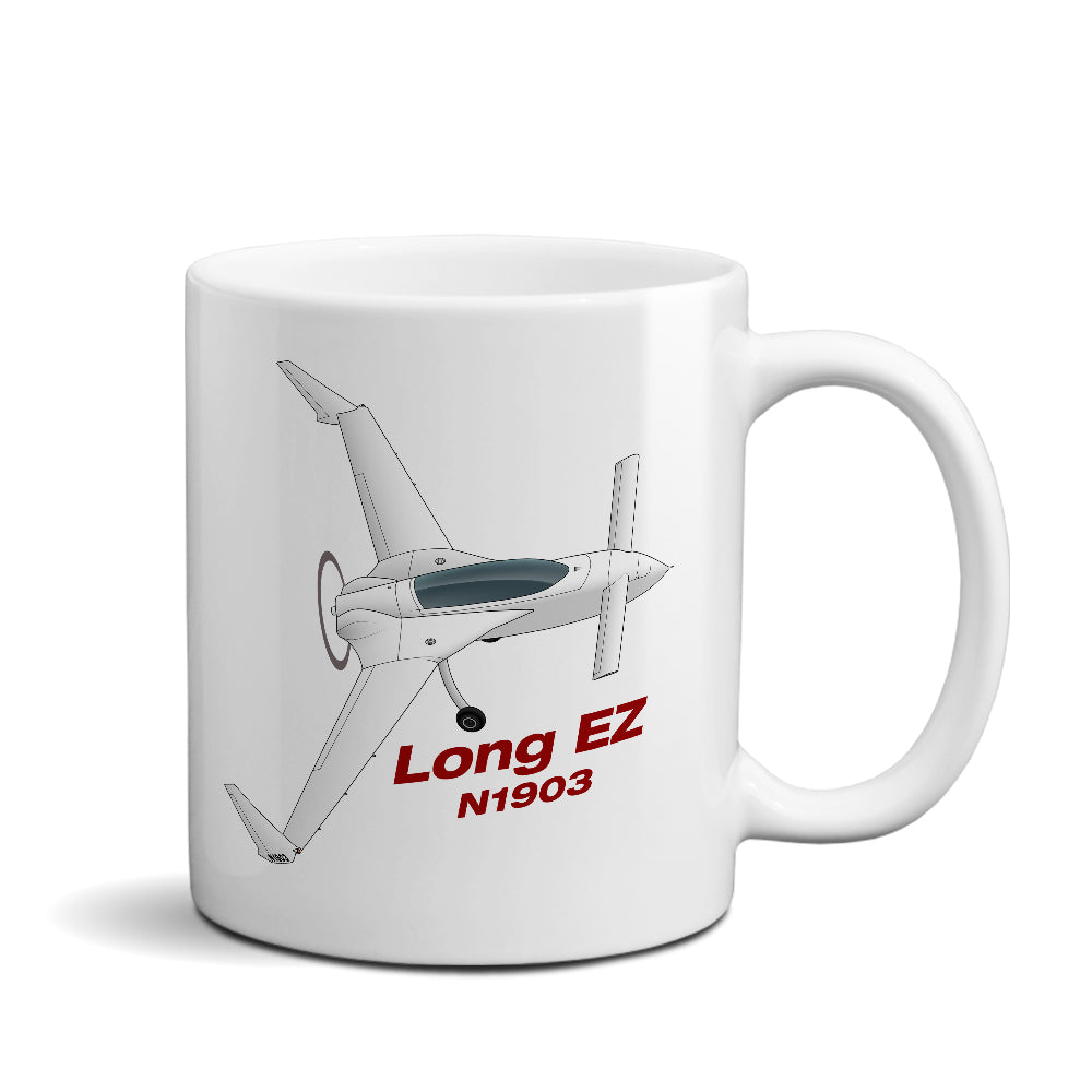 Rutan Model 61 Long EZ Airplane Ceramic Mug - Personalized w/ N#