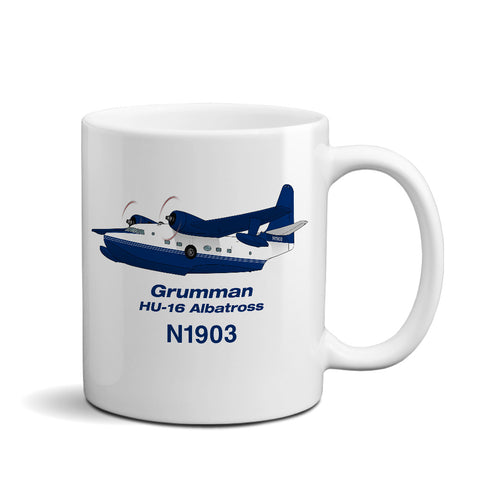 Grumman HU-16 Albatross (Blue) Airplane Ceramic Mug - Personalized w/ N#
