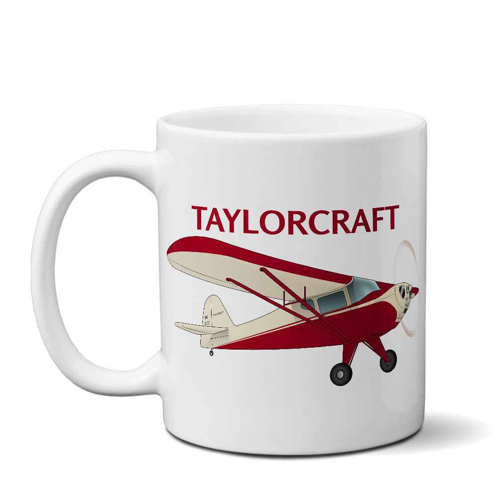 Taylorcraft F-21B (Cream/Red) Airplane Ceramic Mug - Personalized w/ N#