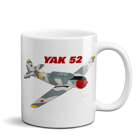 Yakovlev Yak-52 Airplane Ceramic Mug - Personalized w/ N#