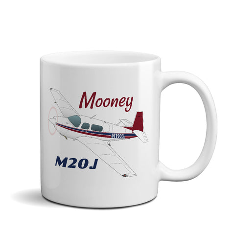 Mooney M20J / 201 (Red/Blue) Airplane Ceramic Mug - Personalized w/ N#