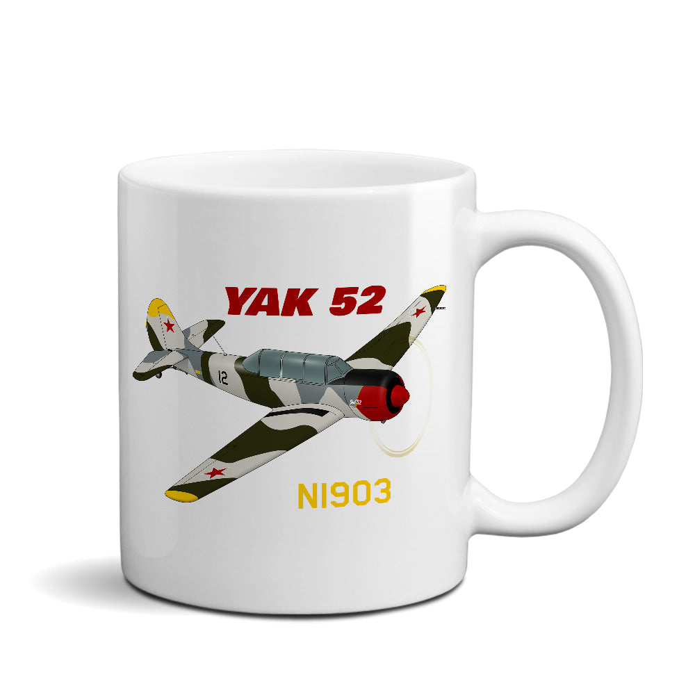 Yakovlev Yak-52 (Green/Silver) Airplane Ceramic Mug - Personalized w/ N#