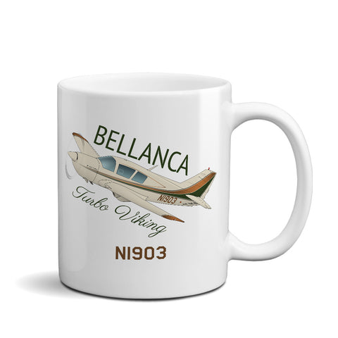 Bellanca Turbo Viking (Brown/Green) Airplane Ceramic Mug - Personalized w/ N#