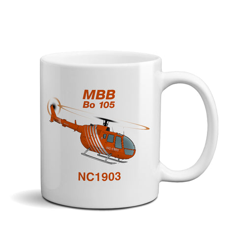 MBB Kawasaki BO 105 (Orange) Helicopter Ceramic Mug - Personalized w/ N#