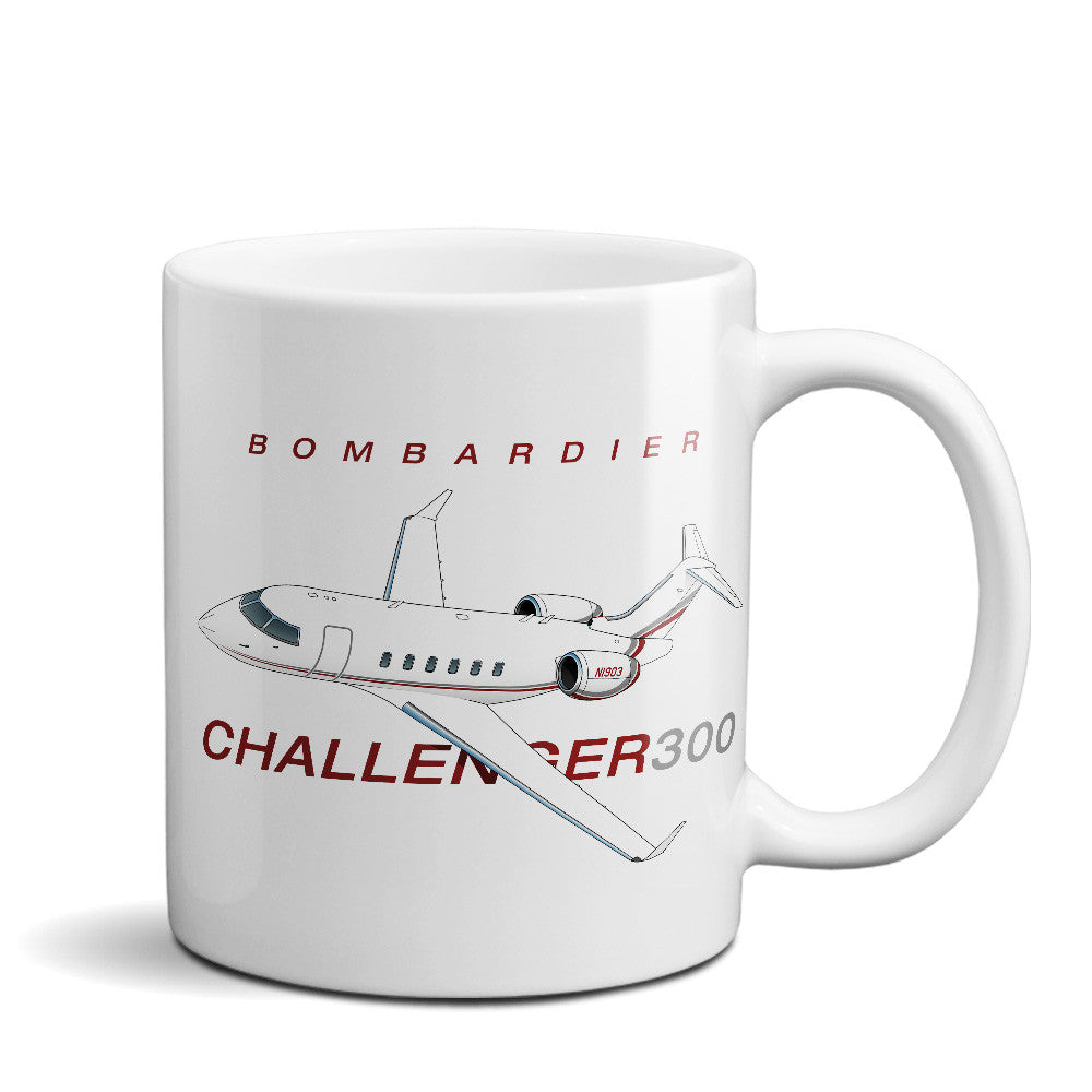 Bombardier Challenger 300 (Red/Silver) Airplane Ceramic Mug - Personalized w/ N#