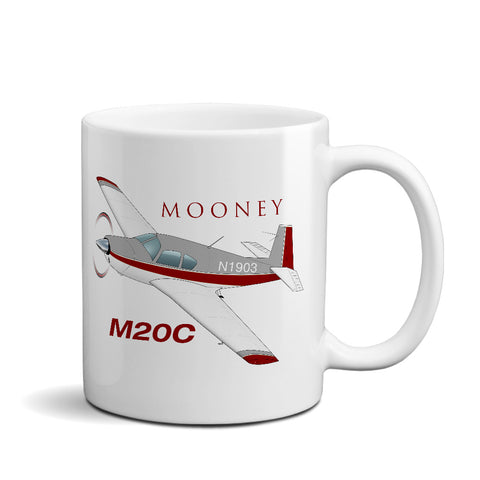 Mooney M20C (Red/Silver) Airplane Ceramic Mug - Personalized w/ N#