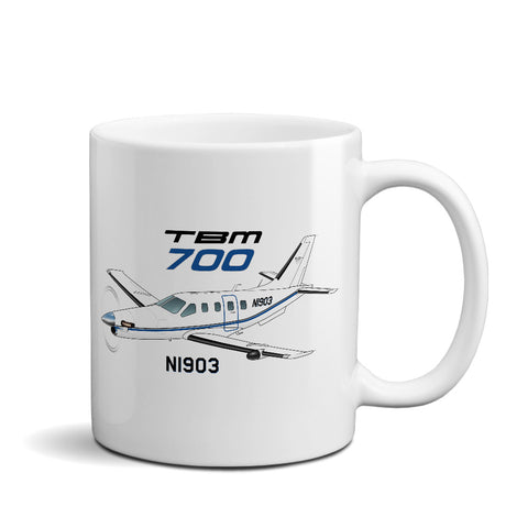 Socata TBM 700 (Blue/Black) Airplane Ceramic Mug - Personalized w/ N#