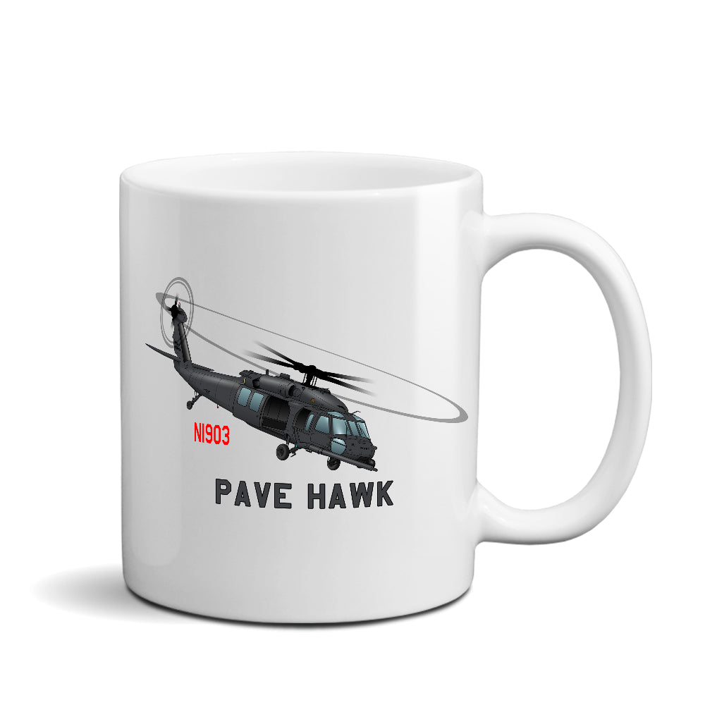 Sikorsky HH-60 Pave Hawk (Black) Helicopter Ceramic Mug - Personalized w/ N#
