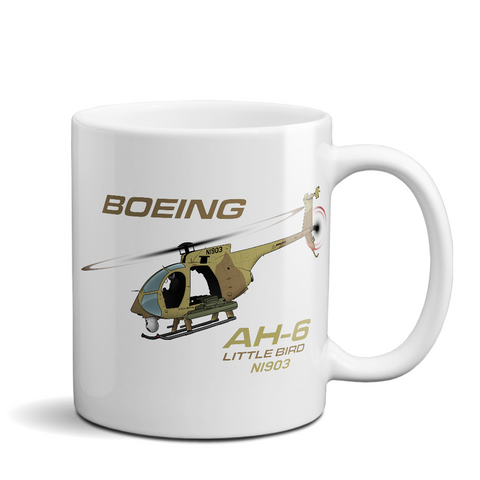 Boeing AH-6 Little Bird Helicopter Ceramic Mug - Personalized
