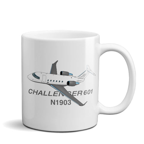 Bombardier Challenger 601 Airplane Ceramic Mug - Personalized w/ N#