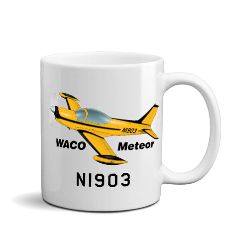 Waco Meteor SF 260 (Yellow/Black)  Airplane Ceramic Mug - Personalized w/ N#