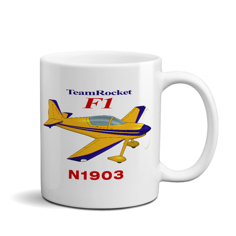 Team Rocket F1 (Yellow/Blue) Airplane Ceramic Mug - Personalized w/ N#