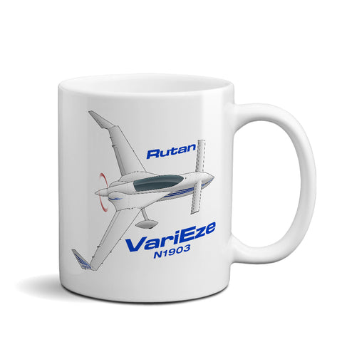Rutan VariEze (Blue) Airplane Ceramic Mug - Personalized w/ N#