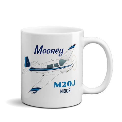 (Blue #2) Airplane Ceramic Mug - Personalized w/ N#
