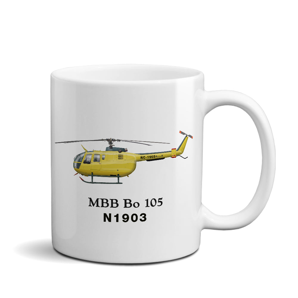 MBB BO 105 Helicopter Ceramic Mug - Personalized w/ N#
