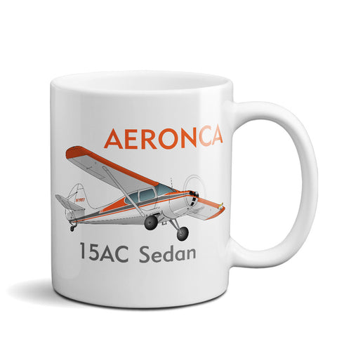 Aeronca 15AC Sedan Airplane Ceramic Mug - Personalized w/ N#