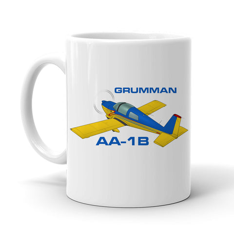 Grumman American AA-1B Trainer (Blue/Yellow) Airplane Ceramic Mug - Personalized with N#