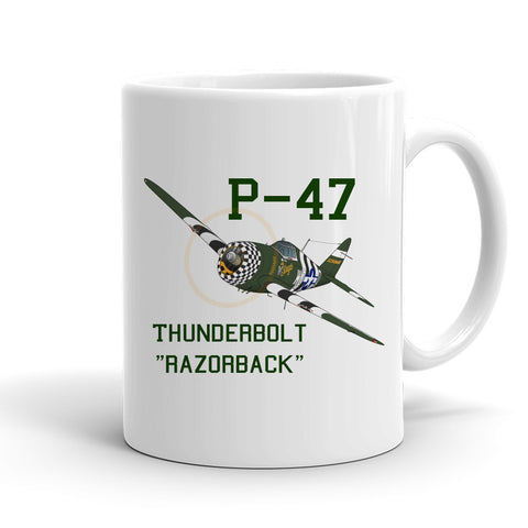 Republic P-47 Thunderbolt Airplane Ceramic Mug - Personalized