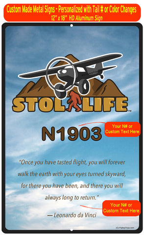 "STOL LIfe Aviation 12"" x 18"" HD Metal Sign - Personalized w/ your N#"