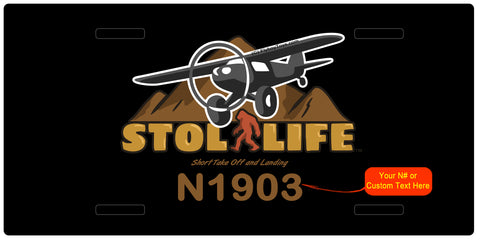 STOL Life Airplane License Metal Plate - Personalized with Your N#