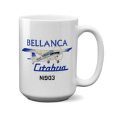 Bellanca Citabria 7KCAB (Cream/Blue) Airplane Ceramic Mug - Personalized w/ N#